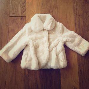 Kate Spade new white Faux fur coat, 18 months